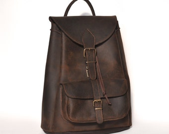 Large leather backpack /Women/Men distressed leather backpack / Distressed brown backpack