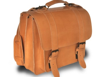 "Extra large leather messenger / Backpack / Satchel / 13"" Laptop Bag / Women/Men natural (tan) leather backpack"