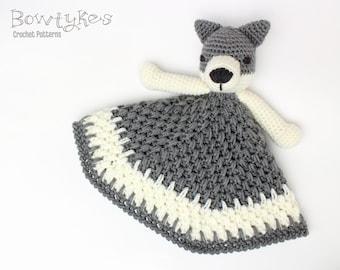 Wolf Lovey CROCHET PATTERN instant download - blankey, blankie, security blanket
