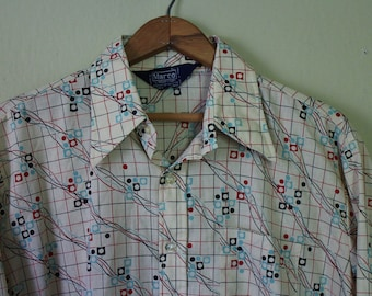 Vintage Mens 1970s Button Up Shirt - Groovy Abstract Print Hippie Shirt - 60s/70s Costume - Marco - Mens Large