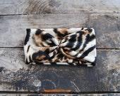 Turban Headband Women's knit Jersey Leopard Print Hair Accessory Head Wrap Winter Fashion for Women and Girls