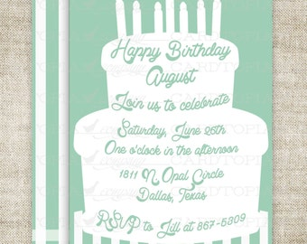 Cake Birthday Party Invitations Boy Girl Printable Invitations Cheap Invitations Candle Stripes Online Party Invitations Hipster - 211643661