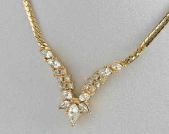 Beautiful Christian Dior Gold Tone Rhinestone Necklace Choker  //  Vintage Jewelry