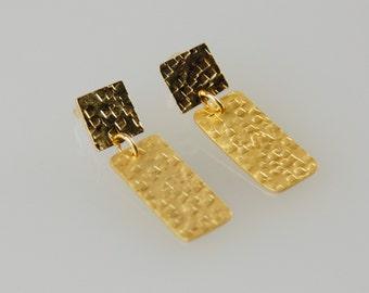 Long Rectangle Studs , Hammered Bar Posts , Gold Geometric Earrings , Rectangle Earrings ,  Geometric Earrings , Gold Bar Earrings