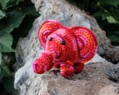 Crocheted Amigurumi Elephant Gift/Zoo Animal/Party/Baby Shower/Red/Orange/Pink/SANGRIA
