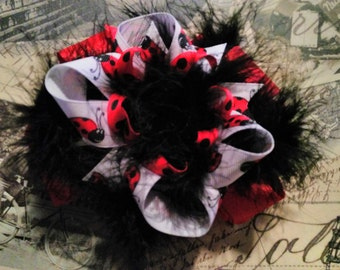 Ladybug Red Black Feather Over-The-Top Hair Hairbow
