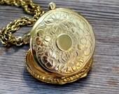 Vintage Napier Locket, Gold Plated Art Deco Reversible Pendant, Art Nouveau Floral Pocket Watch Style Photo Locket Necklace, Vintage Locket