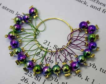 20 Knitting stitch markers rainbow mirrors