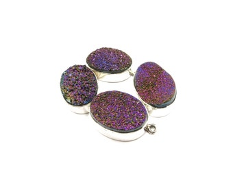 Agate Druzy Raw Crystal Pendant Sterling Silver 1 Oval 25% off SALE - Natural Rough Stone For Jewelry (Lot BD06) Necklace Component Druse