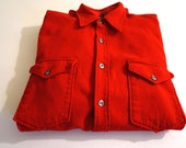 Mid Century Men's Pendleton Red Wool Button Up Size 16 1/2 Made in USA - Floyd Jones Vintage