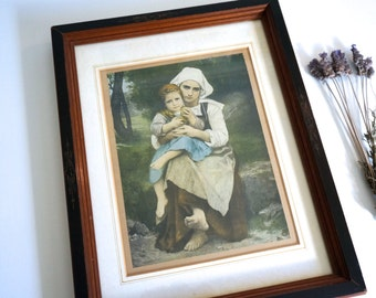 Mother and Child Print in Wood Frame