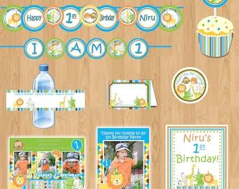 Sweet Safari Package boy - Birthday Package - 1st Birthday Party - Jungle Birthday Safari Birthday Banner - Sweet at one Boy DIY Printable