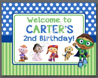 Super Why Birthday Welcome Door Sign--Custom Printable
