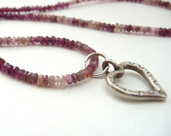 Valentine's Day Pink Tourmaline and Garnet Sterling Heart Necklace