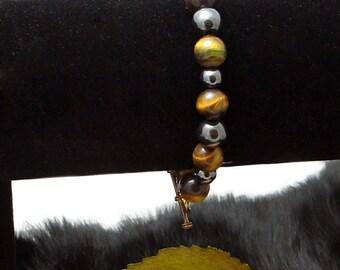 On SALE 50% off ***Tigereye and Hematite Magnetic Beaded Bracelet Jewlery