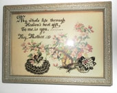 """Antique Motto """"MY MOTHER"""" - Circa 1900 Reverse-painted Convex Glass"""