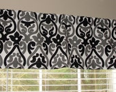 Premier Prints Double Damask Black Alex Valance Lined or Unlined Grey Gray White