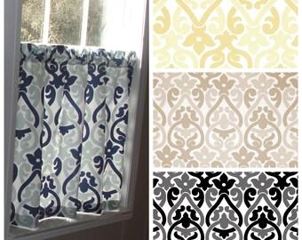 "Premier Prints Double Damask Cafe Curtains 80"" wide x 30"" long Navy and Light Blue Saffron Yellow Ecru Beige Black Grey Gray"