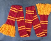 Harry Potter Long Scarf with Tassels Hogwarts House Colours Wool Free Made to Order Custom Hand Knitted