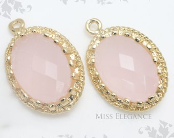 2pcs Pink Oval Framed Faceted Glass Stone Pendants, Gold Plated Over Brass Unique Jewelry Findings  //  13mm x 17mm // G9002-MG