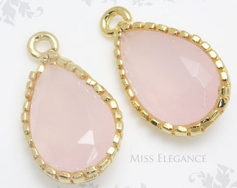 2pcs Light Pink Jade Teardrop Framed Faceted Glass Stone Pendant Gold Plated Brass Unique Jewelry Findings // 8mm x 13mm// GST-0000-BG