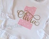 Pink and Gold first birthday shirt. Appliqued ruffle birthday ruffle shirt with large 1 and name. Princess birthday party. Monogrammed shirt
