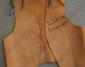 Leather Vest Native American Childs Tan Suede Hand Crafted Stitched LITTLE BEAVER Kids Indian Costume Colorful Beads Scouts Collectible