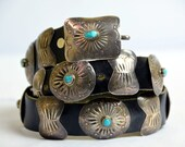 Vintage Navajo Turquoise and Sterling Silver Concho Leather Belt