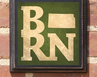 Kansas KS BORN Wall Art Sign Plaque Gift Present Personalized Color Custom Wichita Topeka Overland Park Olathe Kansas City Birthday Antiqued
