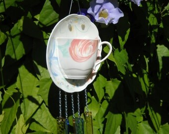 Bone China Tea Cup and Saucer Stained Glass Wind Chime, Johnson Bros Marie pattern, Glass Yard Art or Garden Decor, Original Handmade, OOAK