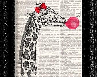 Happy Giraffe and Bubblegum pop, Funny poster, Dictionary Print poster, Happy Giraffe Gift poster, Dorm College Home Wall decor