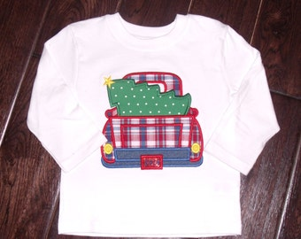 Boutique Boys Christmas Truck and Tree Shirt.  Sizes 3M to 5T Youth Long Sleeves or Short