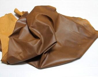 Italian Lambskin leather  hide skin pelt pull up VINTAGE TAN DISTRESSED 7sqf