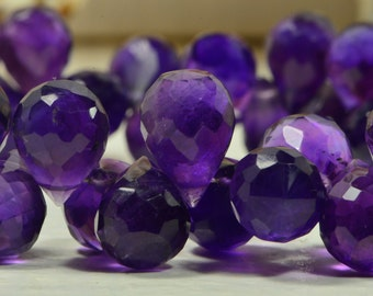 Amethyst 10x7mm 6 Beads Teardrop Beads Natural Faceted Amethyst Jewelry Making Supplies