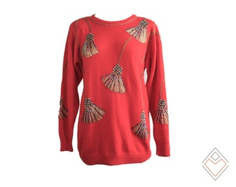 1980s beaded and rhinestone encrusted red holiday tassel sweater // ugly sweater party // size Small medium large
