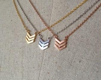Triple Chevron Necklace, Dainty Necklace