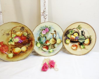 Vintage Handpainted Shabby Cottage Fruit and Rose Plates Set 3 Wall Decor