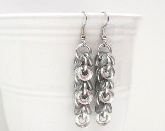 Silver glass earrings, chainmaille shaggy loops earrings