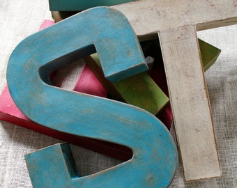 "Single 12"" Letter. Hand Painted Vintage Style Industrial Farmhouse Letter. Word Art."