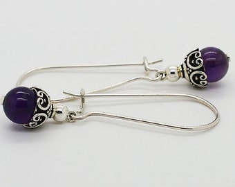 Amethyst Sterling Silver Kidney Wire Earrings 14