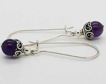 Amethyst Sterling Silver Kidney Wire Earrings 14