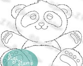 Panda Hugs - digital stamp digistamp JPG PNG - panda bear love line art for crafting