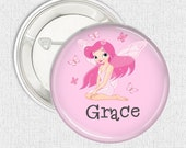 Fairy pinback button name badge  - pink custom made name pinback button badge