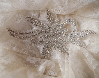 rhinestone applique,  bridal sash applique, rhinestone bead bridal headpiece pplique ZP37