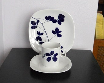 Modern Block Transitions Trio Cup Saucer Plate Sleepy Hollow Naomi Savage Rare Langenthal Switzerland 1970's
