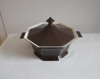 Covered Vegetable Tureen Independence Ironstone By Interpace Japan Brown & White Gothic Style Serving Bowl w/Lid