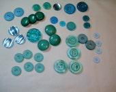 TEAL- Green - BLUE button lot -  1/2 - 1 1/4 inch -38 buttons - DESTASH blue and green buttons - Flower buttons, dome buttons and more