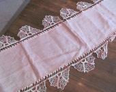 "Vintage Pink Linen Table Runner/ Dresser Scarf 51"" X 17"" Crochet Scalloped Edges Cottage Chic"