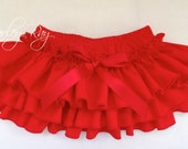 Beautiful Parley Ray Red Ruffled Diaper Cover/ Baby Bloomers/ Photo Prop