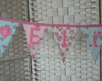 Personalised name bunting, banner. Pink & blue. Baby girl. Christening. Nursery. Shower. Fabric flags. Florals. Applique hearts.